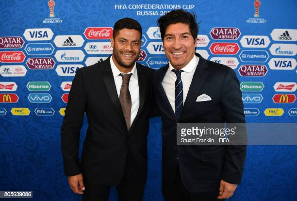 FIFA legends Hulk of Brazil and Ivan Zamorano of Chile pose prior to the FIFA Confederations Cup Russia 2017 Final between Chile and Germany at Saint...