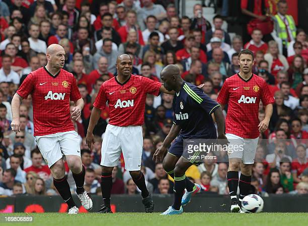 Legends Jaap Stam Quinton Fortune and Ronny Johnsen during the Manchester United Foundations Legends match between Manchester United Legends and Real...