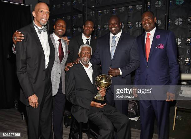 NBA legends Kareem AbdulJabbar Alonzo Mourning David Robinson NBA Lifetime Achievement Award Winner Bill Russell Shaquille O'Neal and Dikembe Mutombo...