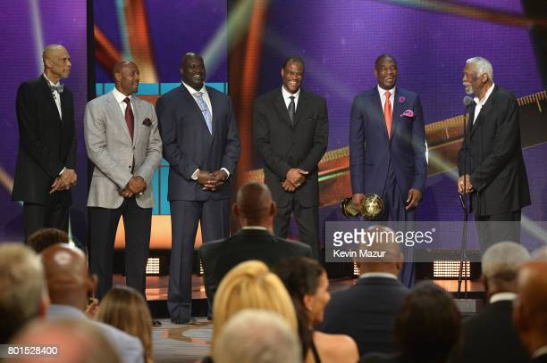 NBA legends Kareem AbdulJabbar Alonzo Mourning Shaquille O'Neal David Robinson Dikembe Mutombo and NBA Lifetime Achievement Award Winner Bill Russell...