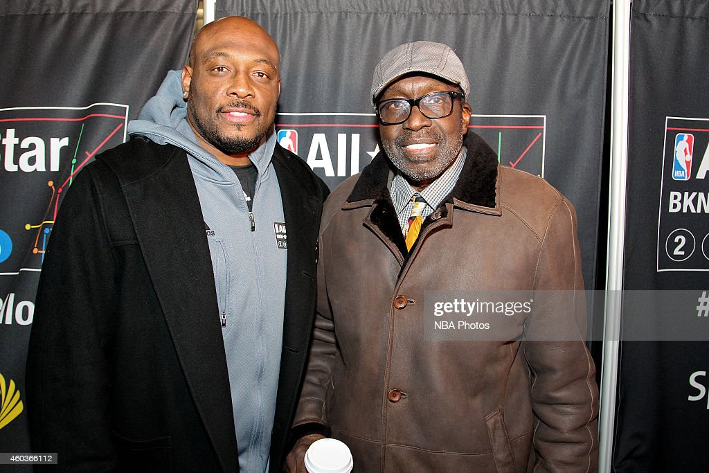 Legends Mitch Richmond and Earl Monroe pose outside Madison Square Garden to help tip off NBA AllStar Balloting presented by Sprint on December 11...