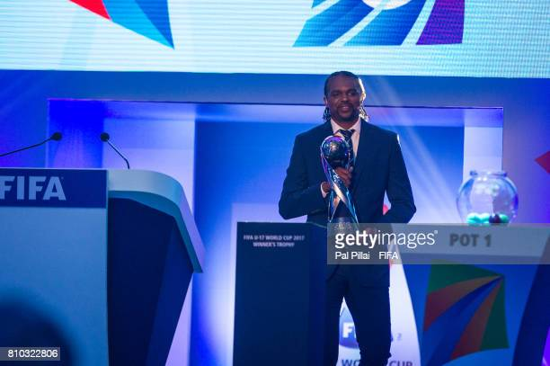 Legends Nwankwo Kanu gets the Trophy during FIFA U17 World Cup 2017 Draw held at Hotel Sahara Star on July 07 2017 in Mumbai India
