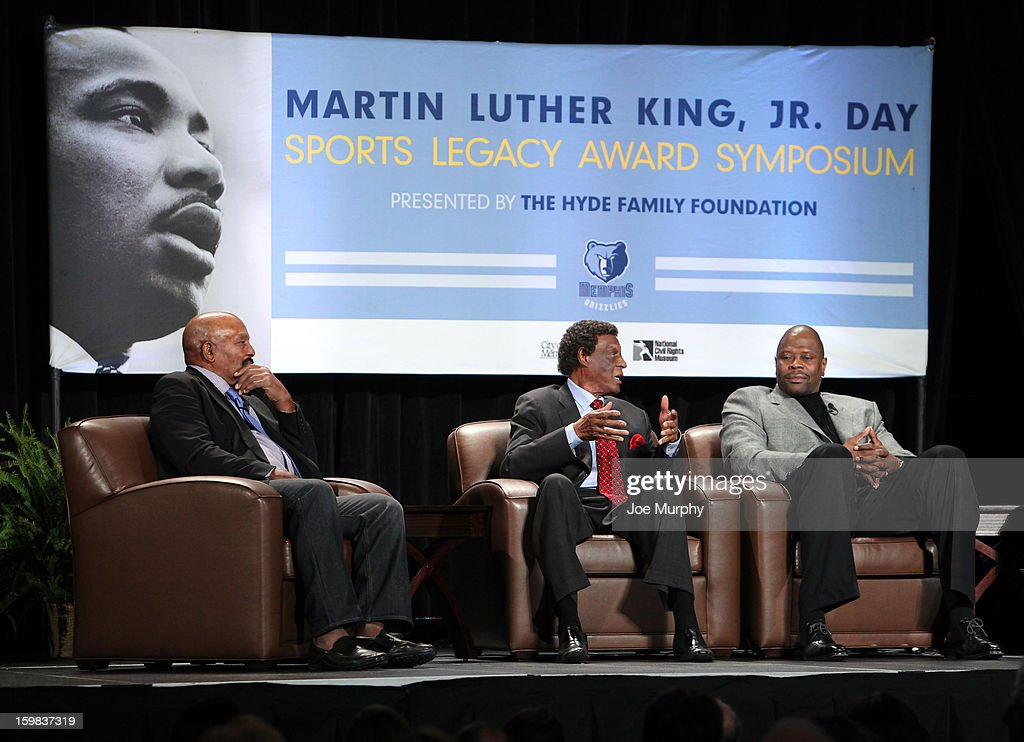 Legends Patrick Ewing and Elgin Baylor along with NFL Legend Jim Brown speak during the Martin Luther King Jr Day Sports Legacy Award Symposium before a game between the Memphis Grizzlies and the Indiana Pacers on January 21, 2013 at FedExForum in Memphis, Tennessee.