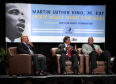 Legends Patrick Ewing and Elgin Baylor along with NFL Legend Jim Brown speak during the Martin Luther King Jr Day Sports Legacy Award Symposium...