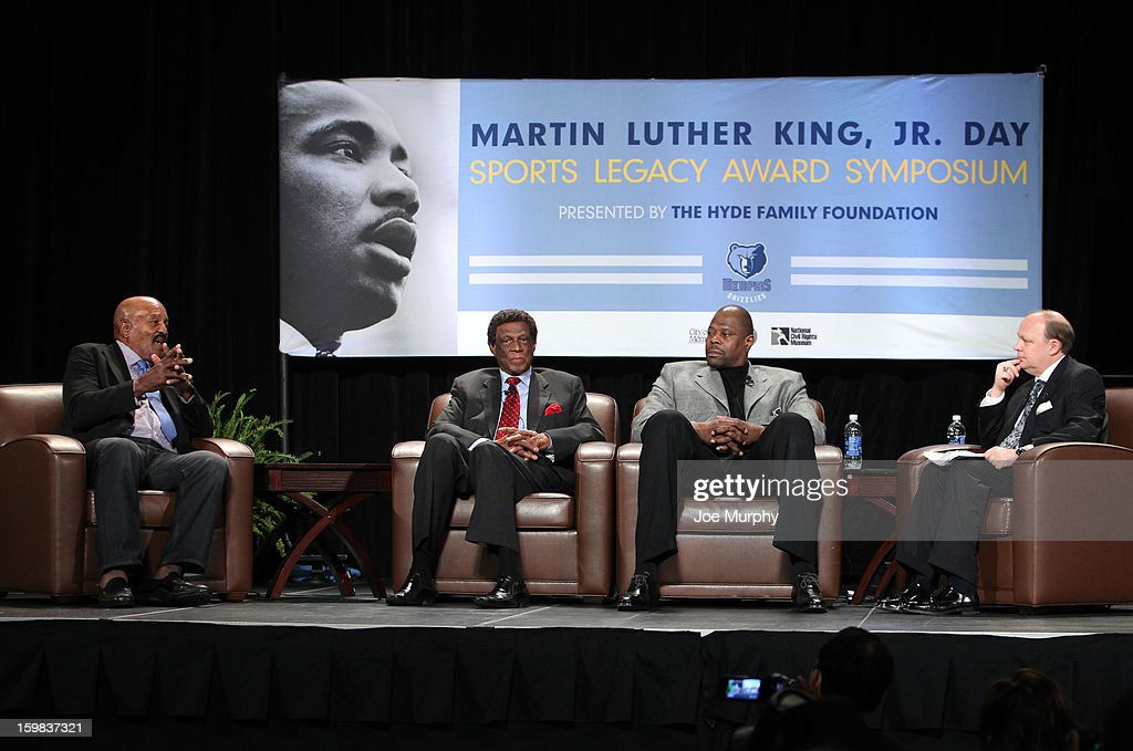 Legends Patrick Ewing and Elgin Baylor along with NFL Legend Jim Brown speak during the Martin Luther King Jr. Day Sports Legacy Award Symposium before a game between the Memphis Grizzlies and the Indiana Pacers on January 21, 2013 at FedExForum in Memphis, Tennessee.