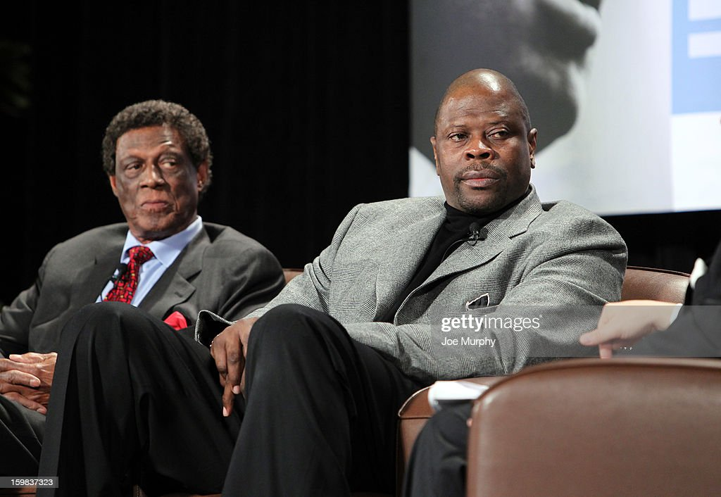 Legends Patrick Ewing and Elgin Baylor speak during the Martin Luther King Jr. Day Sports Legacy Award Symposium before a game between the Memphis Grizzlies and the Indiana Pacers on January 21, 2013 at FedExForum in Memphis, Tennessee.