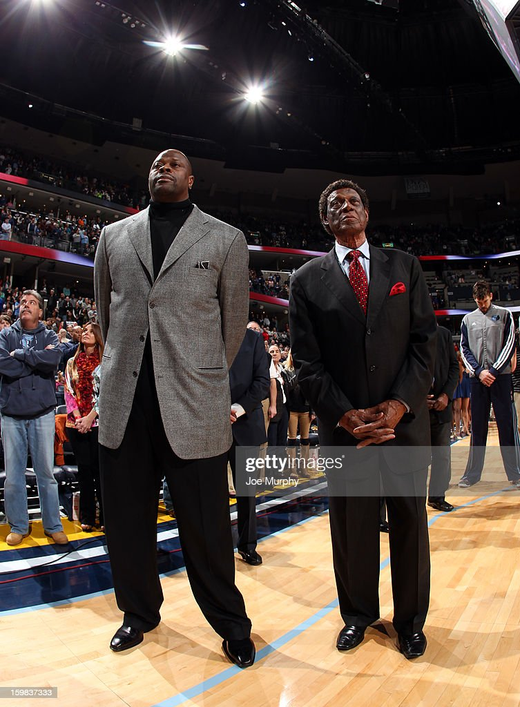 Legends Patrick Ewing and Elgin Baylor stand during the national anthem before a game between the Memphis Grizzlies and the Indiana Pacers on January 21, 2013 at FedExForum in Memphis, Tennessee.