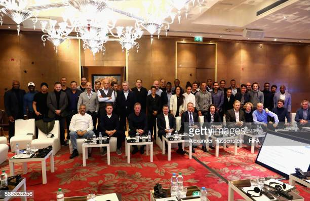 Legends pose for a photo during the 3rd FIFA Legends Think Tank Meeting prior to The Best FIFA Football Awards at The May Fair Hotel on October 23...