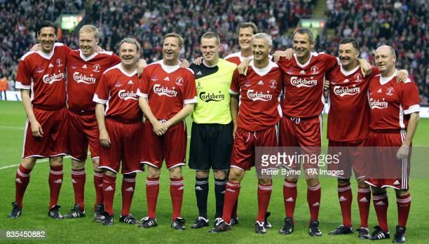 Legends' team group prior to kick off Gary Ablett Steve Staunton Ray Houghton Ronnie Whelan goalkeeper Paul Harrison Gary Gillespie Ian Rush Alan...