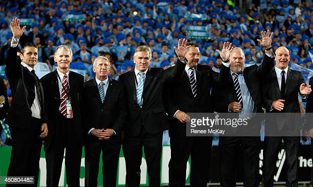 Legends wave to the crowd during game two of the State of Origin series between the New South Wales Blues and the Queensland Maroons at ANZ Stadium...