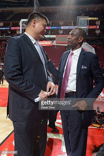 Legends Yao Ming and Dikembe Mutumbo speak during his jersey retirement ceremony during the Chicago Bulls game against the Houston Rockets on...