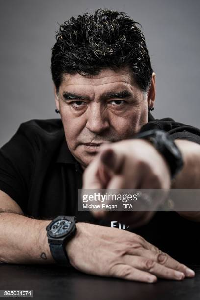 Legened Diego Maradona poses prior to The Best FIFA Football Awards at The May Fair Hotel on October 22 2017 in London England