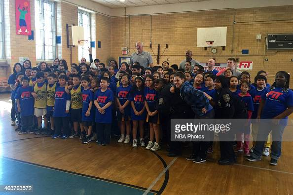 Legened Mark Eaton and Dale Ellis participate in NBA Cares/FIT Day of Service at West PS 020 John Browne during the 2015 NBA AllStar on February 13...