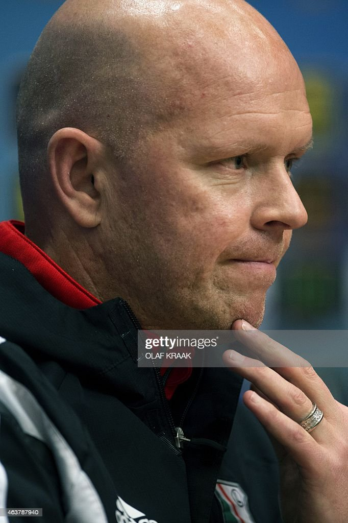 Legia Warsaw football team coach Henning Berg gestures during a press conference in Amsterdam on February 18 on the eve of the match against Ajax...