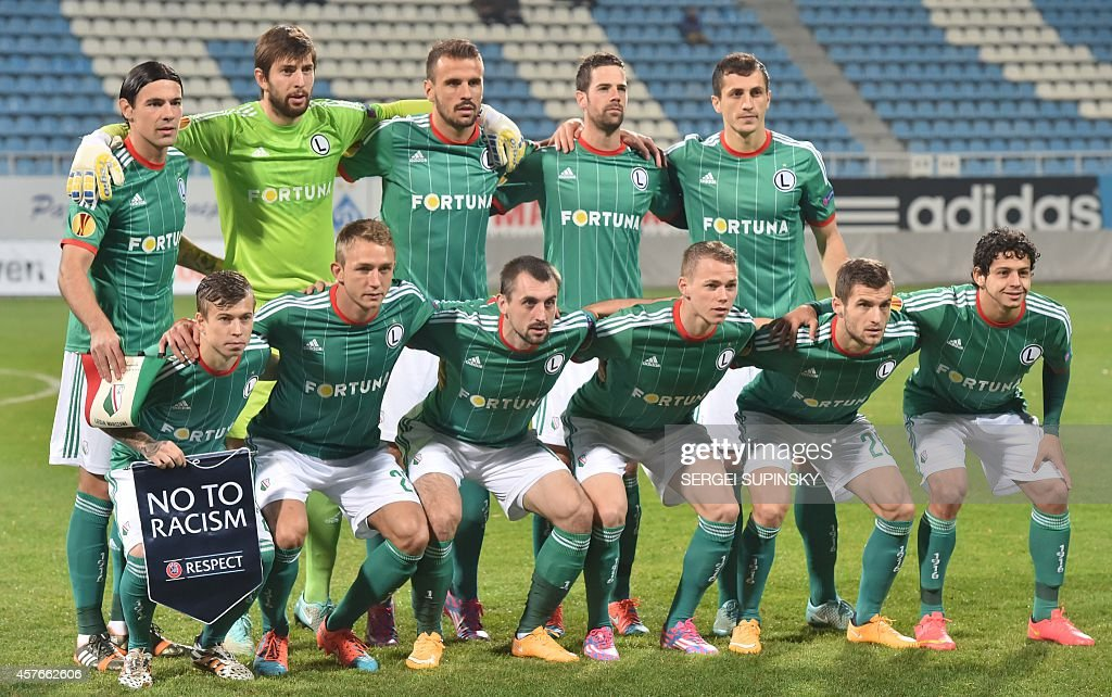 Legia Warsaw players pose for the picture prior a UEFA Europa League group L football match between Metalist Kharkiv and Legia Warsaw in Kiev on...