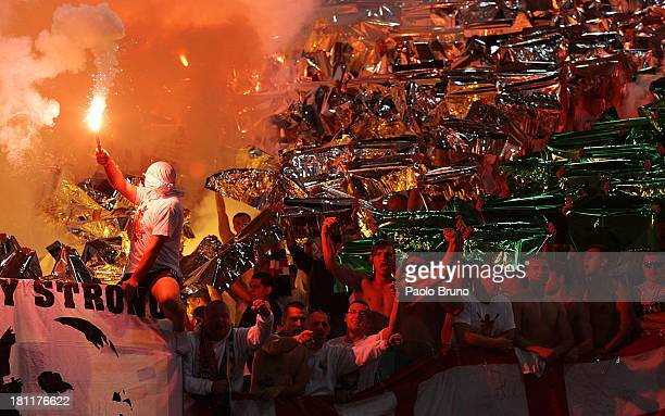 Legia Warszawa fans support their team during the Uefa Europa League Group J match between SS Lazio and Legia Warszawa at Stadio Olimpico on...