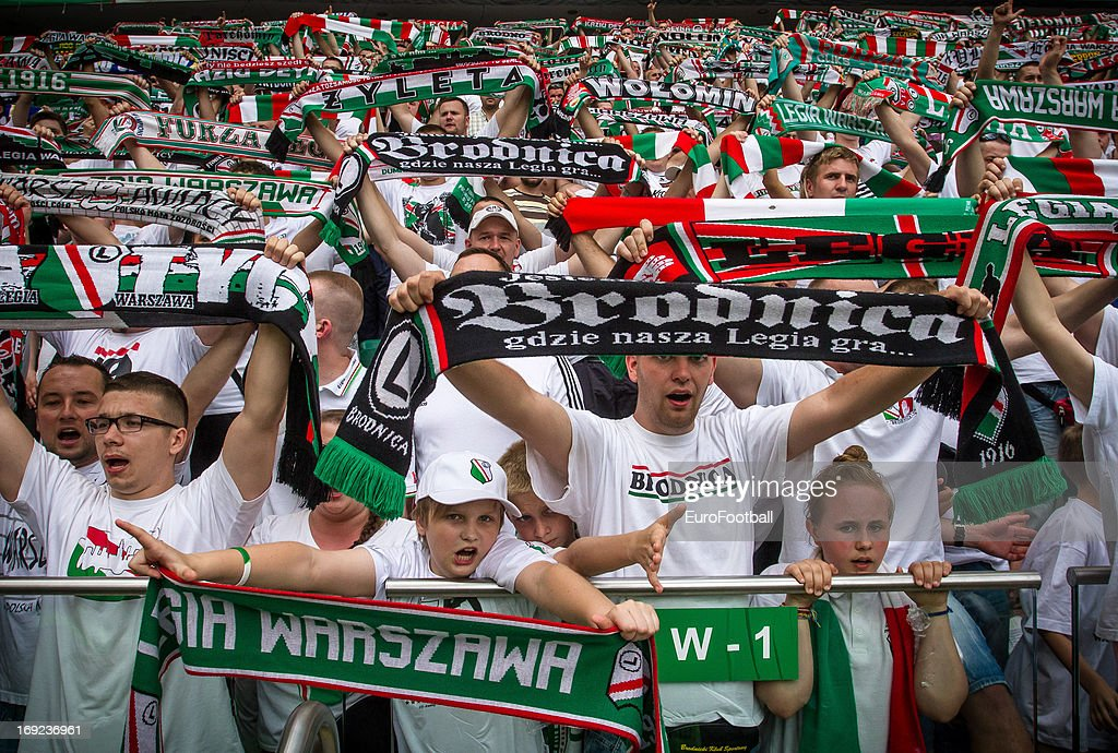 Legia Warszawa supporters during the Polish First Division between Legia Warszawa and KKS Lech Poznan held on May 18 2013 at the Pepsi Arena in...