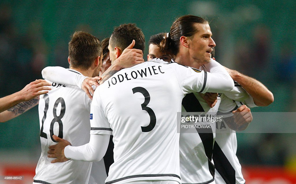 Legia's Aleksandar Prijovic reacts after his goal during the UEFA Europa League football match Legia Warszawa v FC Midtjylland in Warsaw Poland on...