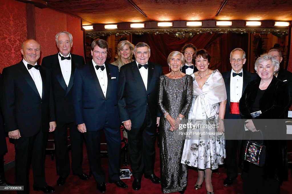 Legion of Honor's Grand Chancellor General Jean-Louis Georgelin, Jean Burelle, Academician <a gi-track='captionPersonalityLinkClicked' href=/galleries/search?phrase=Xavier+Darcos&family=editorial&specificpeople=782029 ng-click='$event.stopPropagation()'>Xavier Darcos</a>, Austrian ambassador <a gi-track='captionPersonalityLinkClicked' href=/galleries/search?phrase=Ursula+Plassnik&family=editorial&specificpeople=553106 ng-click='$event.stopPropagation()'>Ursula Plassnik</a>, AROP President <a gi-track='captionPersonalityLinkClicked' href=/galleries/search?phrase=Jean-Louis+Beffa&family=editorial&specificpeople=769413 ng-click='$event.stopPropagation()'>Jean-Louis Beffa</a>, Honorary chairwoman of the committee Miss Jean Burelle, <a gi-track='captionPersonalityLinkClicked' href=/galleries/search?phrase=Stephane+Bern&family=editorial&specificpeople=2143398 ng-click='$event.stopPropagation()'>Stephane Bern</a>, Roseline Bachelot-Narquin, Ambassador of England Sir Peter Ricketts and his wife Lady Suzan Ricketts attend the AROP Charity Gala with Opera 'L'enlevement au Serail' from Mozart at Opera Garnier on October 16, 2014 in Paris, France.