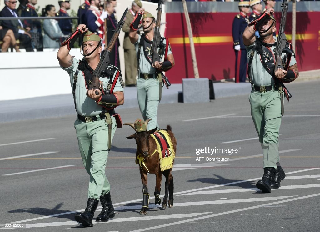 legionnaires-and-their-goat-mascot-march-during-the-spanish-national-picture-id860482006