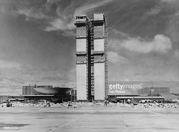 Legislative buildings under construction in the new Brazilian capital Brasilia 1960