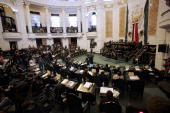 Legislators discuss a law that legalizes abortion in Mexico City at the city's Congress building 24 April 2007 Today legislators in the Mexican...