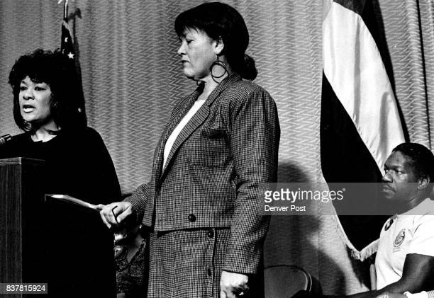 1/25/1990 21990 'Legislators' Gloria Tanner Press Conf L to R State Rep Wilma WebbState Rep Gloria TannerRev Leon Kelly Credit The Denver Post