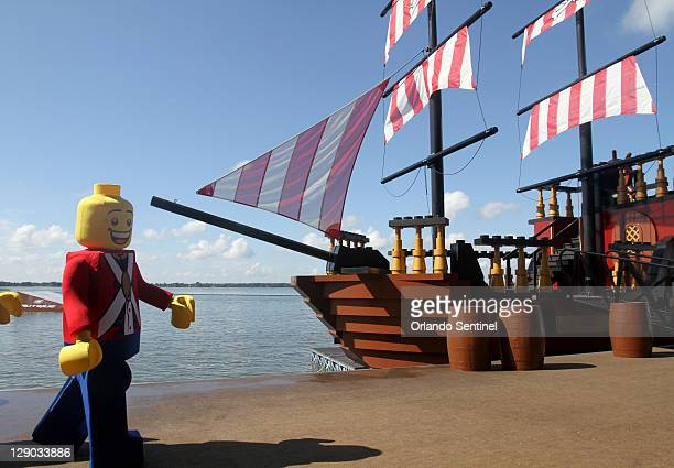 Lego figures perform during the Pirate's Cove Live Water Ski Show on Lake Eloise during a media preview of part of the Legoland park set to open in...