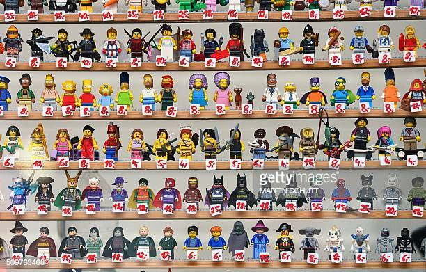 Lego figurines are on display at the 'Erlebniswelt Modellbau' model making fair on February 12 2016 in Erfurt eastern Germany The fair is running...