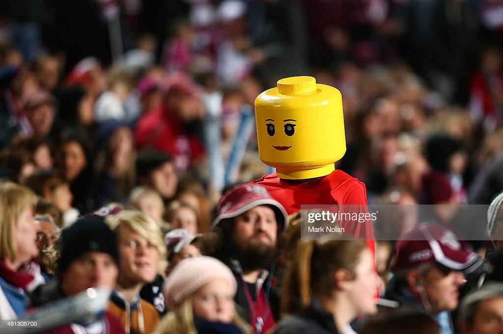 A Lego Man walks through the crowd during the round 16 NRL match between the Manly Sea Eagles and the Sydney Roosters at Brookvale Oval on June 27, 2014 in Sydney, Australia.