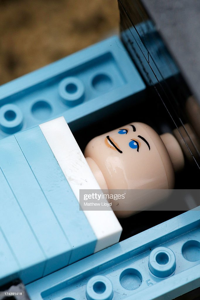 A Lego model of HRH Prince George of Cambridge at the Legoland resort on July 25, 2013 in Windsor, England. Model maker Katrina James constructed the baby and pram model out of 55 bricks, with the palace made out of 36,000 bricks. Catherine, Duchess of Cambridge gave birth to HRH Prince George of Cambridge at 16.24 BST on Monday July 22, 2013 with Prince William, Duke of Cambridge at her side.