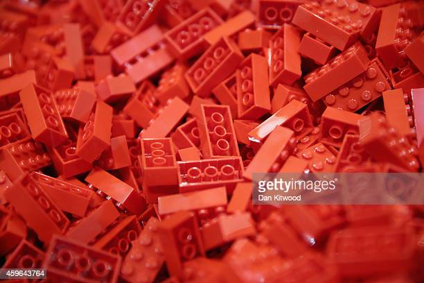 Lego pieces are displayed on the opening day of BRICK 2014 at the Excel Centre on November 27 2014 in London England The four day event showcases...