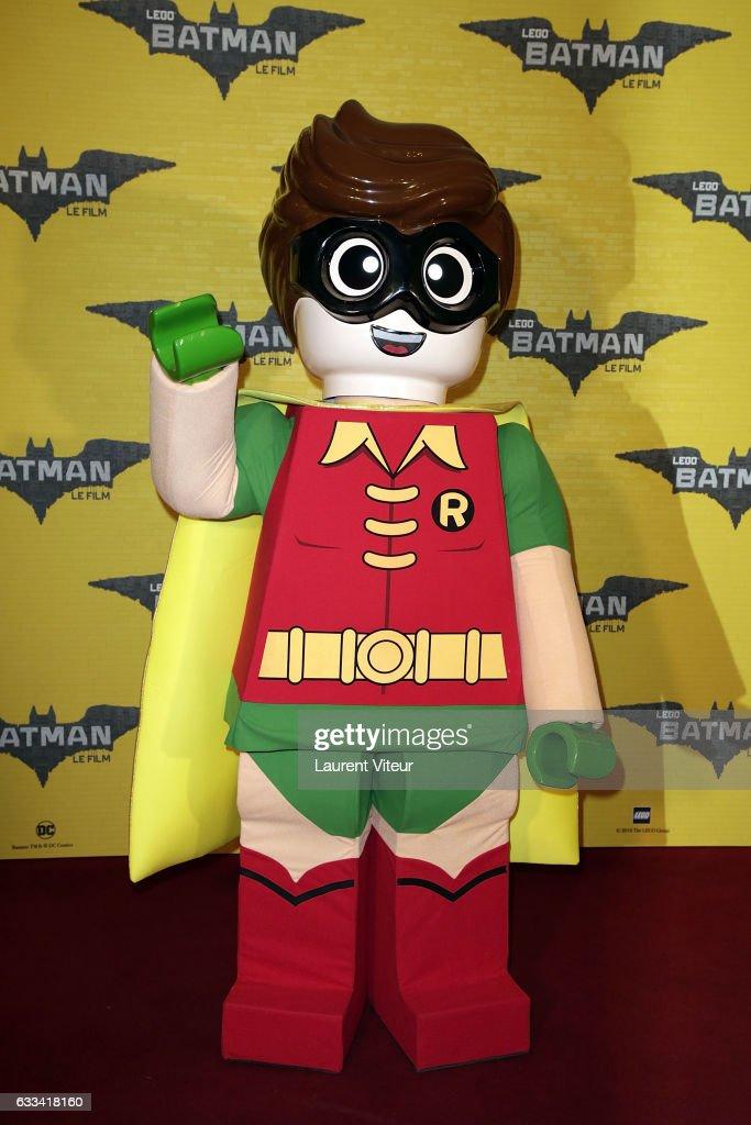 Lego Robin attends 'Lego Batman' Paris Premiere at Le Grand Rex on February 1, 2017 in Paris, France.