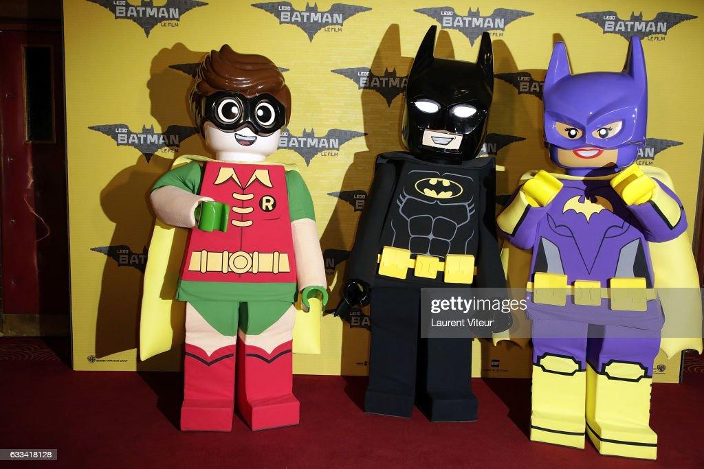 Lego Robin, Lego Batman and Lego Batgirl attend 'Lego Batman' Paris Premiere at Le Grand Rex on February 1, 2017 in Paris, France.