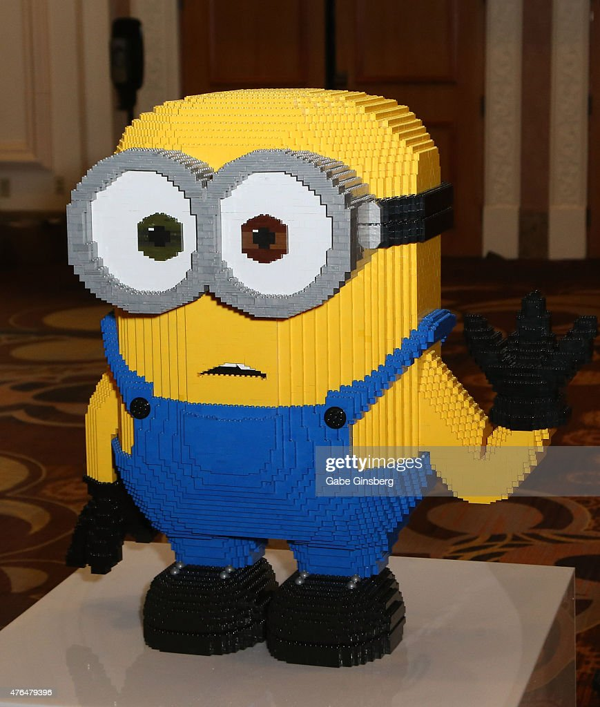 Lego statue of a minion charcter from the 'Minions' movie franchise is displayed during the Licensing Expo 2015 at the Mandalay Bay Convention Center...