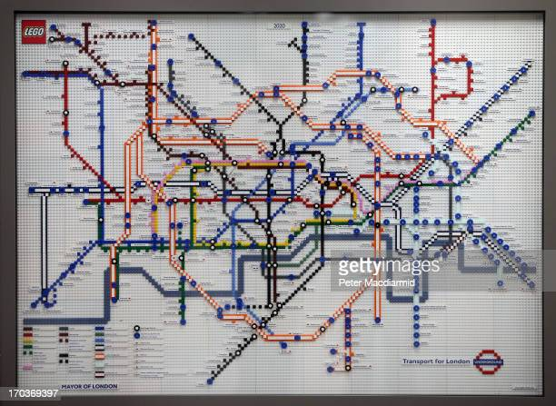 Lego tube map showing the future in the year 2020 is displayed at Kings Cross Station on June 12 2013 in London England Five tube maps have been made...