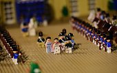 A Legobricksmade scene of the life of former French emperor Napoleon I is displayed prior to the opening of the History in Bricks an exhibition...