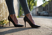 Low angle view on businesswoman's heels on the street