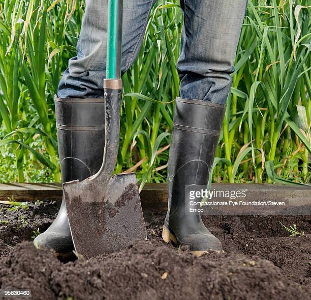 legs in jeans with rubber boots beside a shovel
