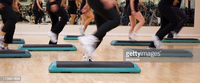 Legs in Step Aerobics Class