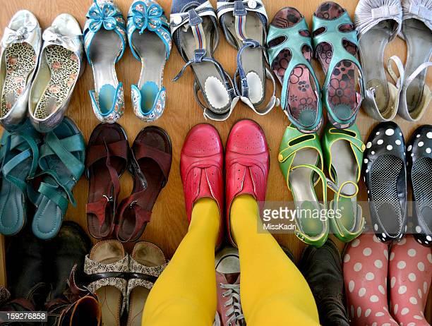 Legs in yellow stockings