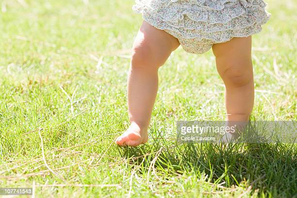 Legs of baby girl walking