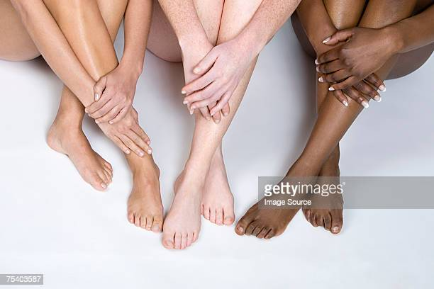Legs of young women