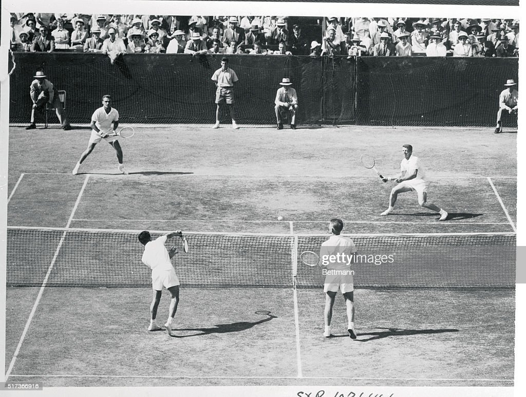 Vic Seixas and Tony Trabert Playing Tennis Against an Australian