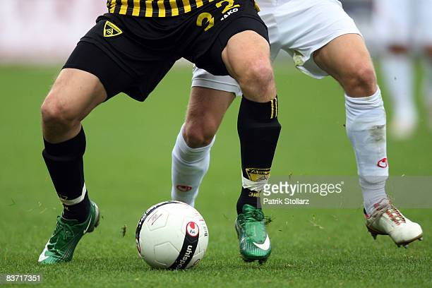 Legs with a ball are seen during the Bundesliga match between RotWeiss Oberhausen and Alemannia Aachen at the Niederrheinstadium on November 16 2008...