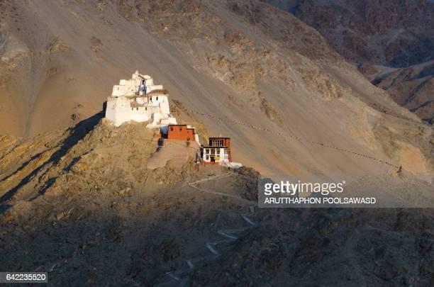 Leh palace from santi stupa landmark of leh , ladakh