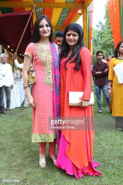 Leher Sethi and Parull Mahajan during the Teej festival celebrations organised at the residence of Smriti Irani on July 25 2017 in New Delhi India...