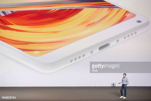 Lei Jun Chairman and Chief Executive Officer of Xiaomi Inc delivers a speech during a launch event at Beijing University of Technology on September...