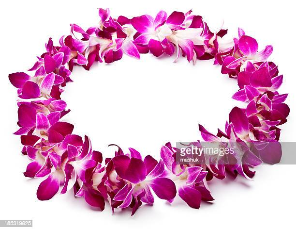 Lei made of purple orchids on white background