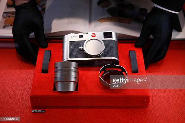 A Leica camera is seen during the unveiling ceremony of a Leica Store on March 9 2011 in Shanghai China German camera company Leica opened the 2nd...